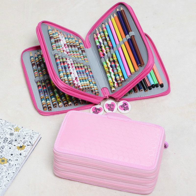 1P Oxford School Pencil Case 36/48/72 Holes Penalty Pencilcase Large Pen Bag Box Multi Kids Multifunction Stationery Pouch 04856