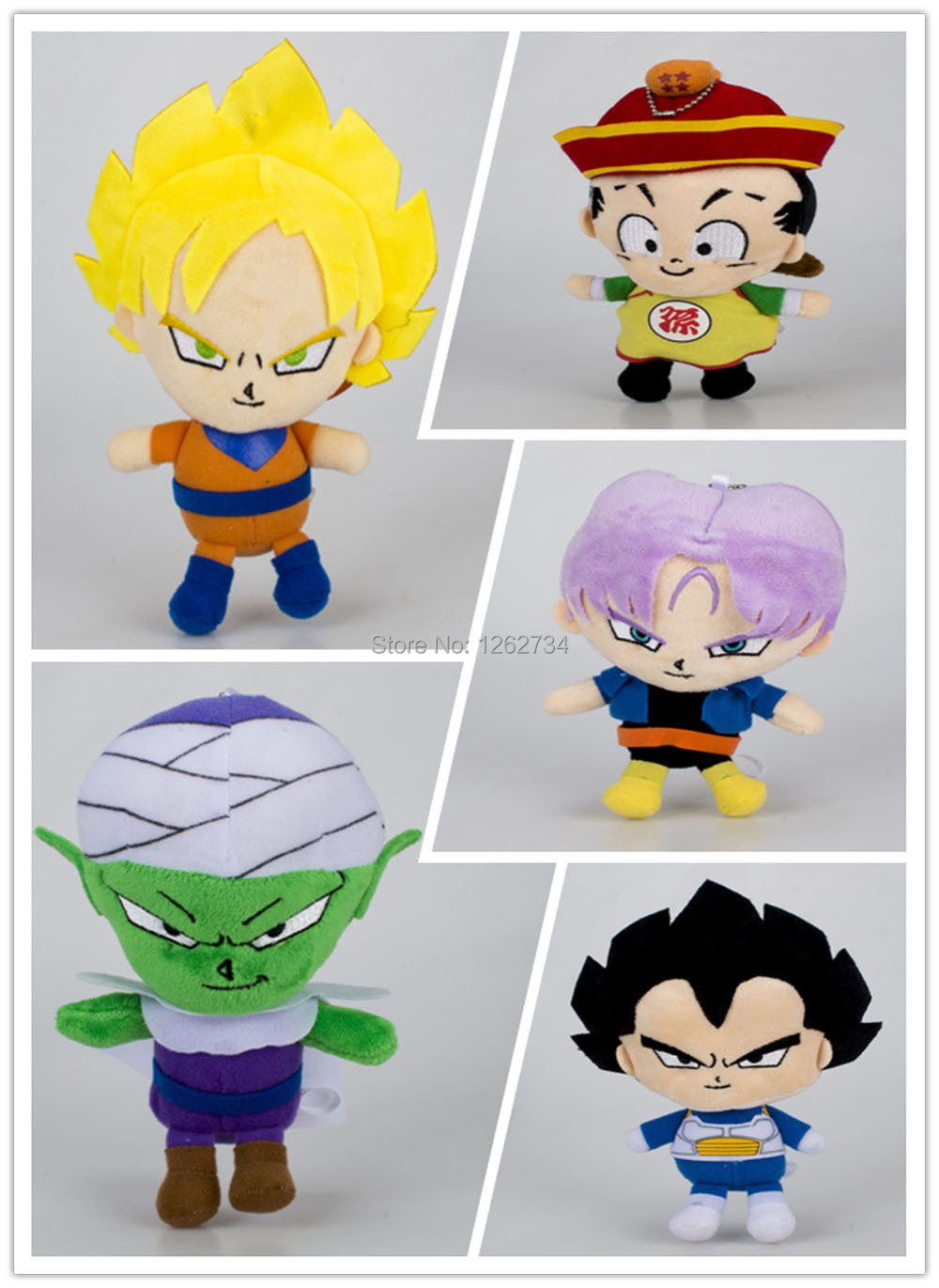 10 Lot Cute 5 Styles Dragon Ball 17 20CM Piccolo Vegeta Son Gohan Goku Trunks Plush