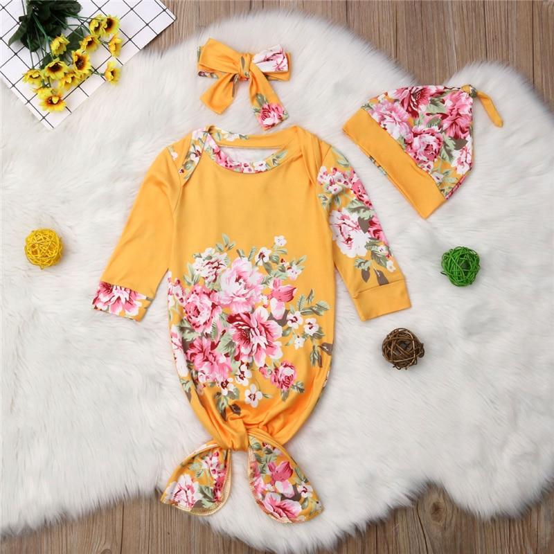 Lente Nachtkleding Inbakeren Mousseline Wrap Inbakeren Ronde Hals Bloemen Lange Mouw Slapen 3 Pcs Pasgeboren Baby Meisje Bloem