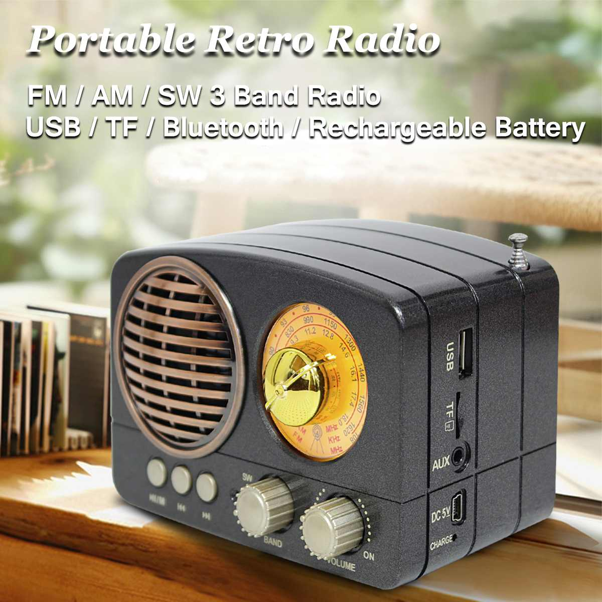 MIni Portable Retro Radio Handheld Receiver AM FM SW+bluetooth Speaker AUX USB TF MP3 Phone Music Player Rechargeable Radio