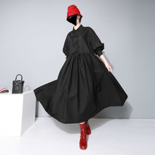 2019 Sprign and autumn new arrival female peter pan collar shirt dress bow large swing loose long dress women 296 цена 2017