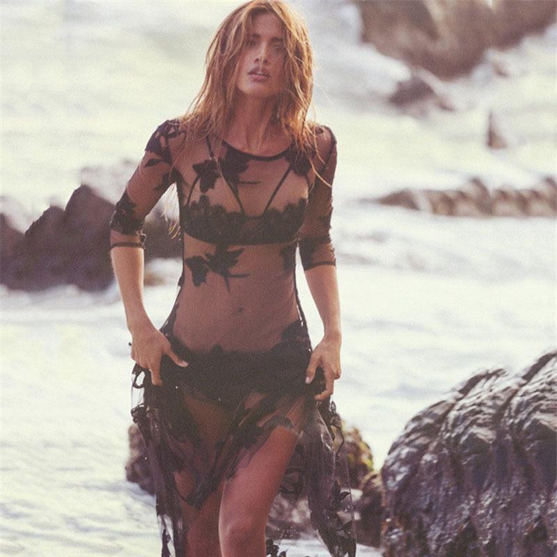 2019 New Retro Beach Cover Up Bikini Crochet Knitted Tassel Tie Beachwear Summer Swimsuit Cover Up Sexy See-through Beach Dress