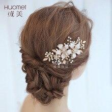 NPASON 2020 Beautiful Bride Headwear Wedding Dress Pearl Hair Comb Hair Accessories Pearl Flower Hairpins Bride Hair Jewelry Hot цена и фото