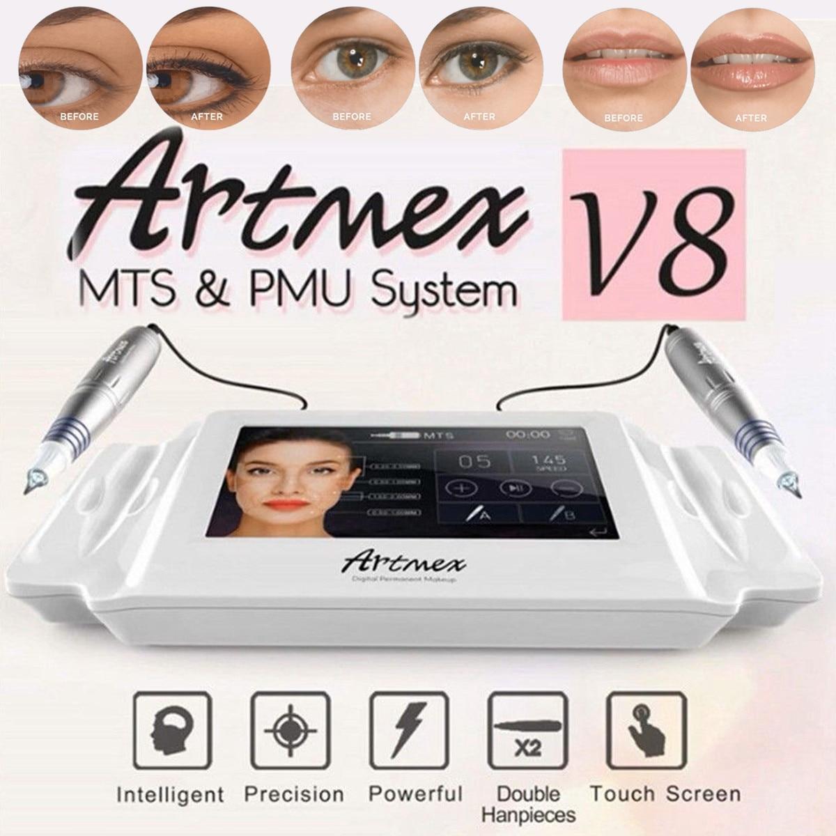 Artmex V8 maquillage permanent dermographe Sourcils Eyeliner Lèvres MTS Pistolets De Tatouage Du Visage Thérapie Anti Vieillissement dermographe s