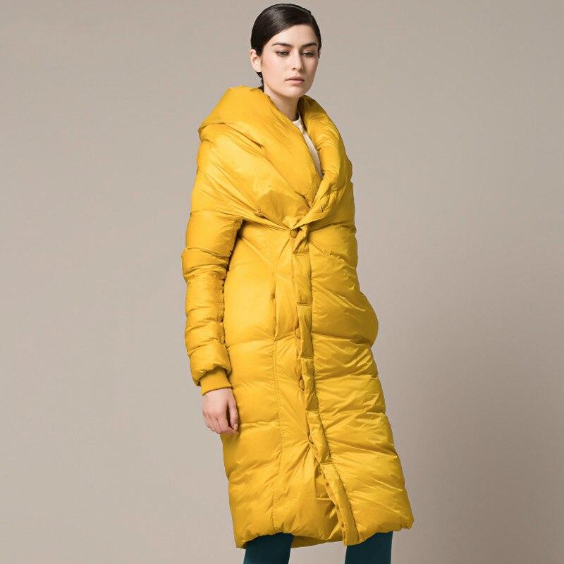 Shengpalae Black Revers Vestes Qualité Haute Nouveau white 2019 yellow Des Ta032 Manteau Plein Manches Vêtements Tempérament Chauds Printemps Femmes Long Épais UrU6x