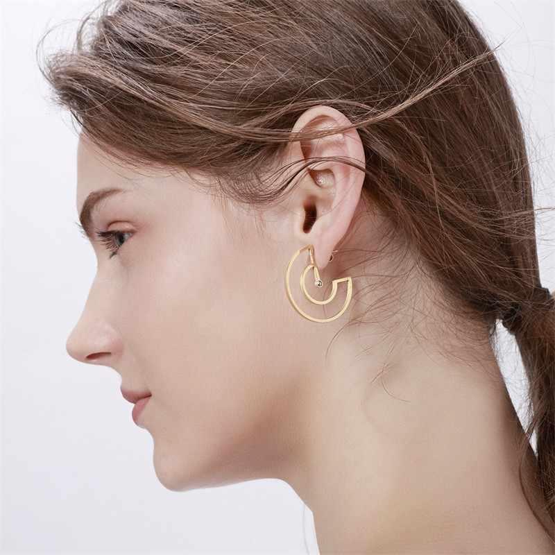 Vnox Trendi Nada Emas Anting-Anting untuk Wanita Hollow Stainless Steel Berbentuk Kipas Menjuntai Anting-Anting Hadiah untuk Wanita