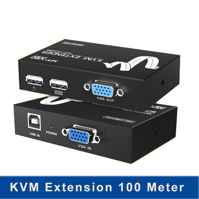 Extension KVM 100 mètre clavier vidéo souris répéteur adaptateur VGA USB Extender via câble UTP CAT RJ45 LAN