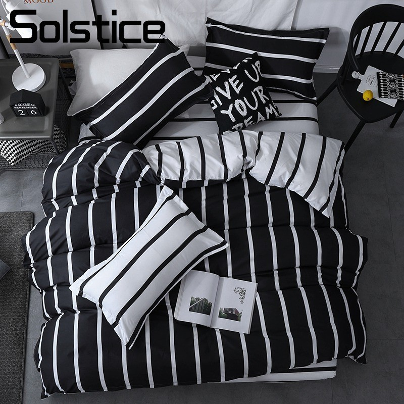 Solstice Home Textile Simple Nordic Bedding Set Boy Teenage Adult Girl Bed Linen Black White Stripe Duvet Cover Pillowcase Sheet