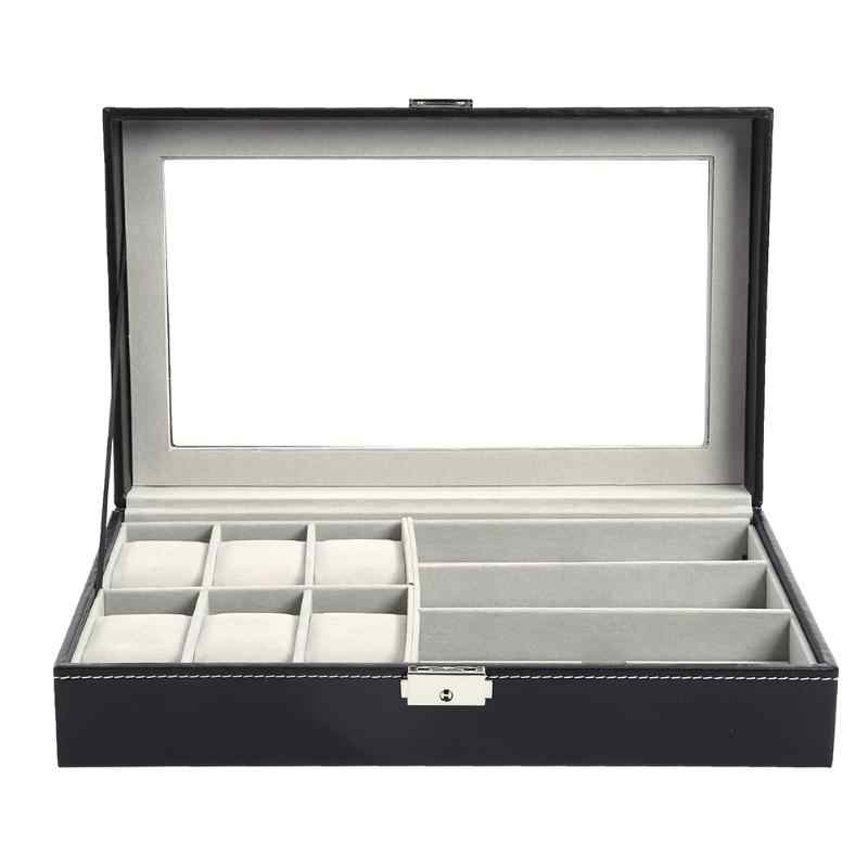 multi - functional Watch box sunglass  display box  sunglas Organizer Case locked Watch Display Box  display watch organizer