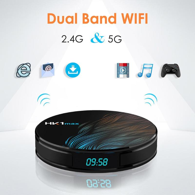 HK1 MAX Android 9.0 TV Box 4G + 32G RK3328 Quad Core WiFi 4 K 3D WiFi décodeur lecteur multimédia-in Décodeurs TV from Electronique    3