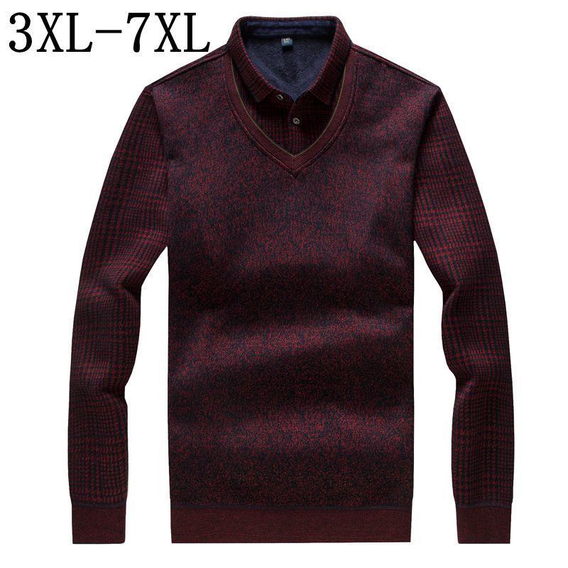 Épais Chaud Polo Shirt Hommes 2018 Nouvelles Affaires D'hiver Camisa Polo Chemises de Haute Qualité Polaire Mens Polos Plus Taille 6XL 7XL