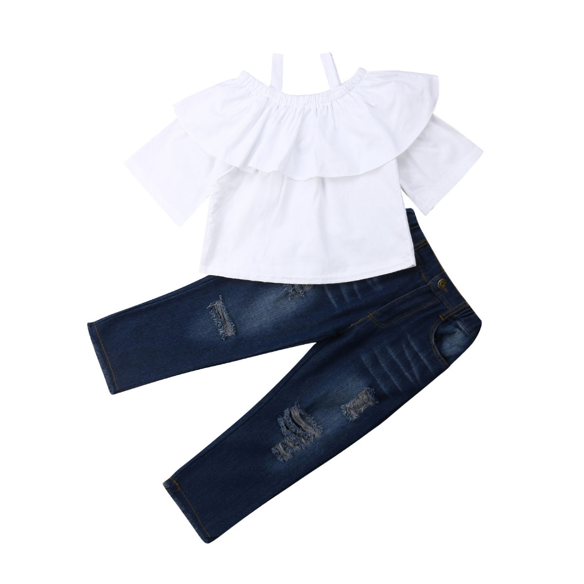 2PCS Toddler Kids Baby Girls Outfits Clothes T-shirt Tops+Pants Trousers Sets