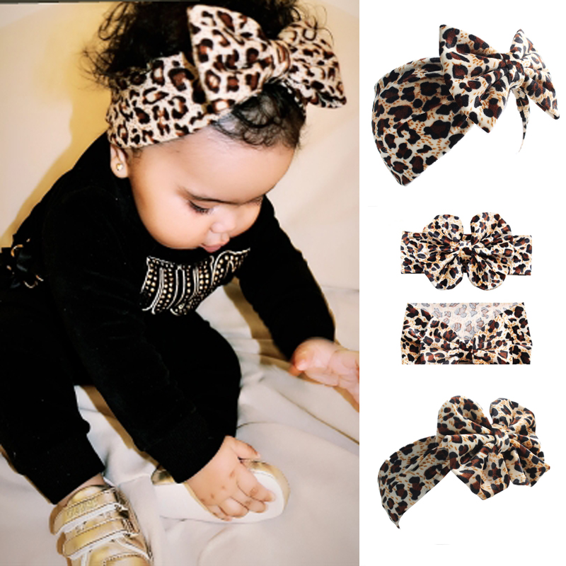 BalleenShiny Leopard Hearband For Baby Girls Kids Bowknot Elastic Head Band Children   Headwear   Accessories Princesses Hairband