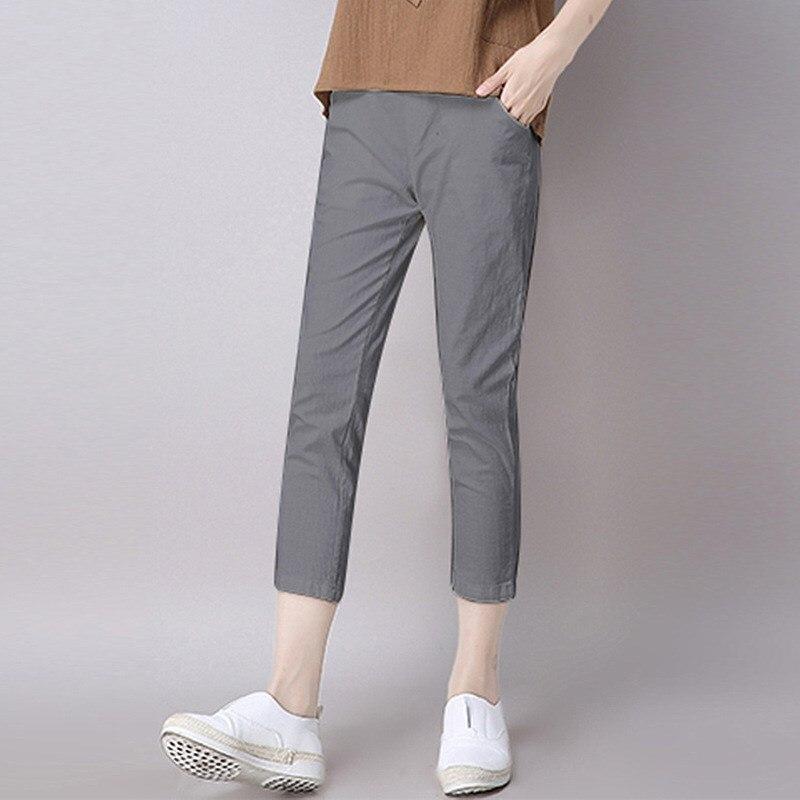 Plus Size 2019 Summer Women Solid   Pants   Loose Casual Pencil Harm   Pants   Women Soild Cotton Linen Ankle-Length Trousers