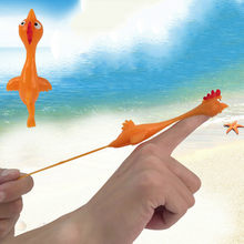 2019 Hot Novelty Toy Child Gags Practical Jokes Joke Toys Funny Laugh Rubber Chicken Stretchy Flying Turkey Finger Birds Sticky(China)