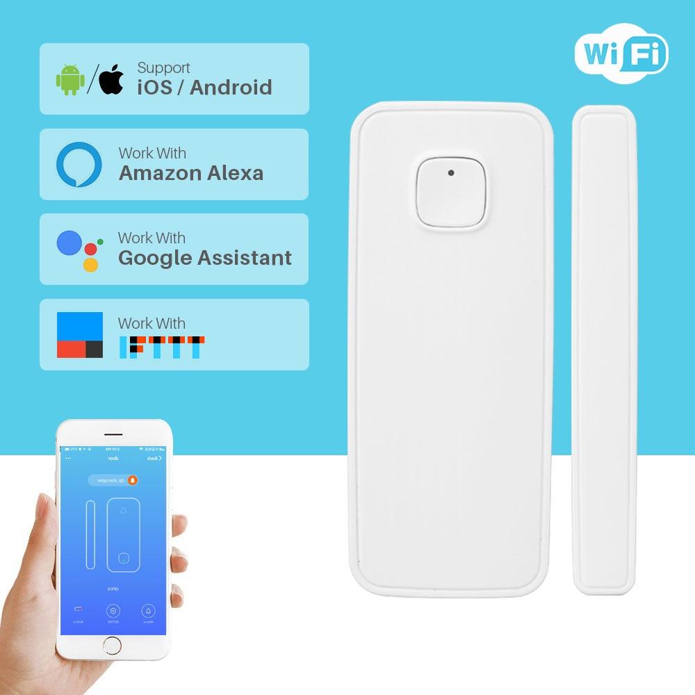 Inteligente Sensor Da Porta Janela Detector de Alarme Sem Fio Da Porta de Segurança Em Casa Wi-fi Via App Controle Compatível Amazon Alexa Inicial do Google