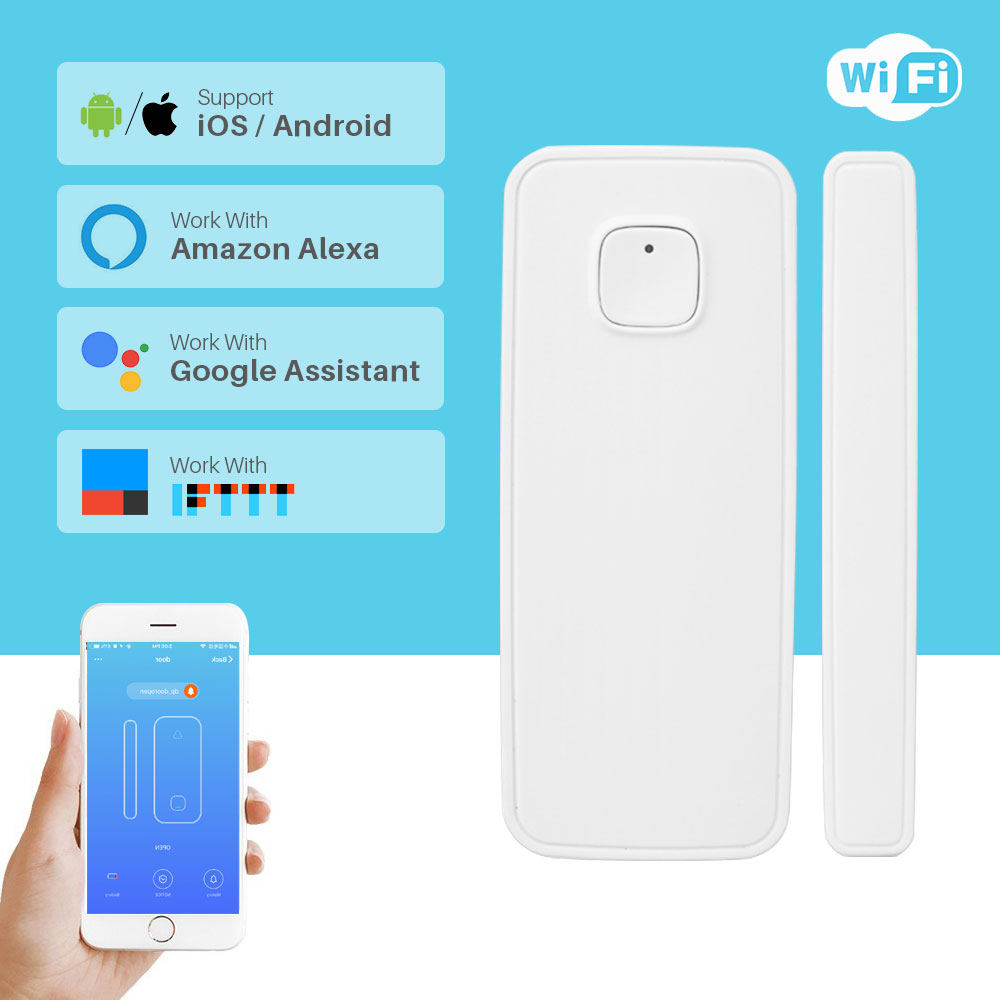 Smart Home Security Wireless Door Alarm WiFi Window Door Sensor Detector Via App Control Compatible Amazon Alexa Google Home