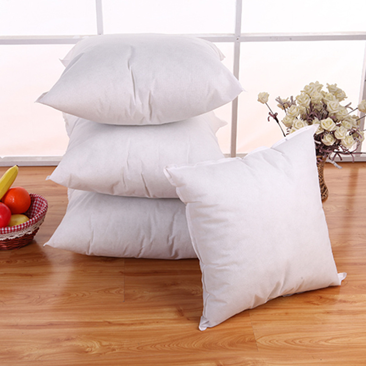 Square White Throw Cushion Pillow Insert Car Seat Waist Pillowcase Inner Filler PP Cotton Filling 5 Size 35 40 45 50 55cm