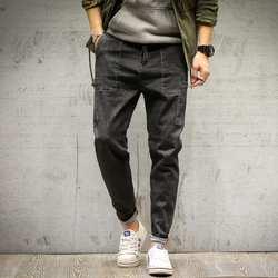 Осень и зима новый бутик для мужчин's повседневные джинсы молодежи сплошной цвет теплые простые свободные большой Размеры Мода Темпера