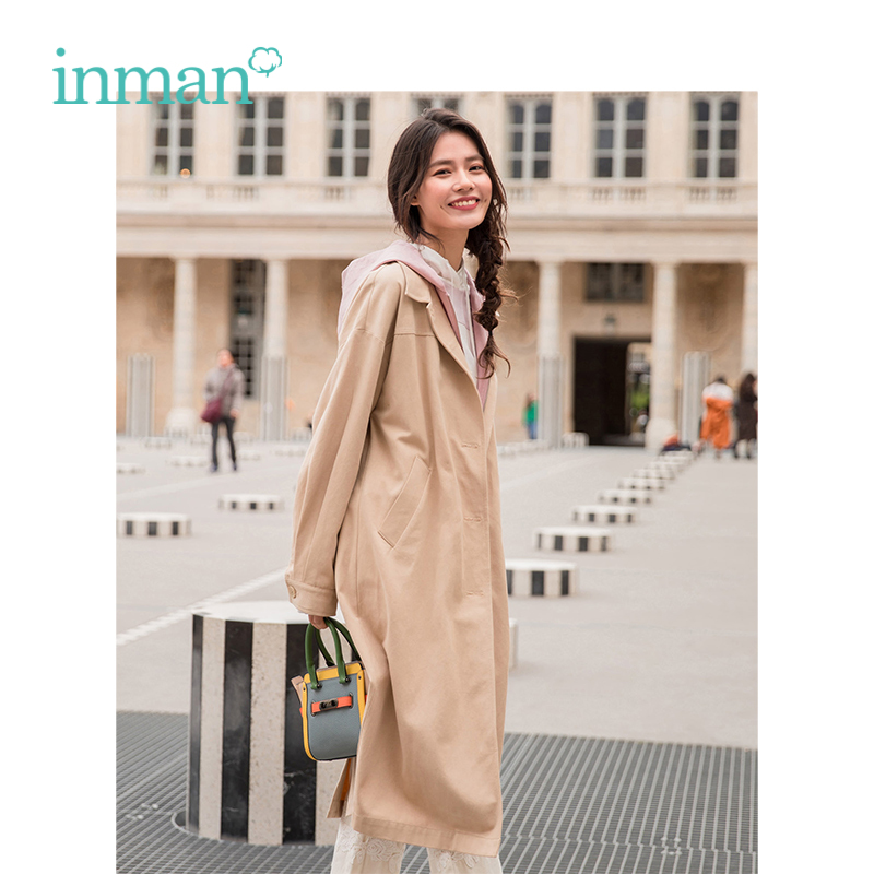 INMAN 2019 Spring New Arrival Fashion Casual Loose Contrast Color Fake two pieces Women Long Coat
