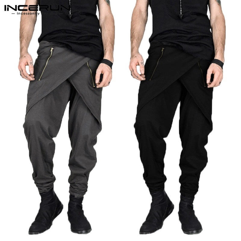 Masculina Punk Harem Pants Men Skirt Pants Male Irregular Zipper Decor Streetwear Sweatpants Slim Fit Pantalon Hombre Men Pant