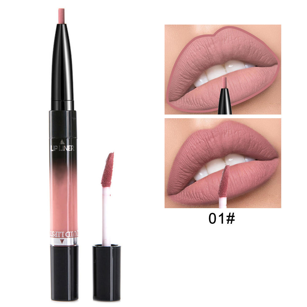 2 in 1 Lip Liner Lipstick Liquid Matte Waterproof Lip liner Contour Easy to Wear Lip Pen Makeup Red Nude Lip Pencil 1