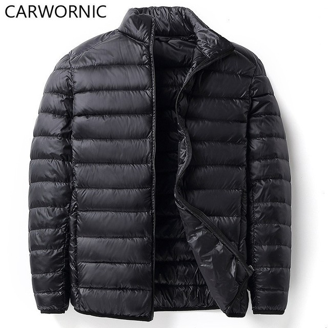 CARWORNIC 2018 Casual Warm Down Coat Men's Parka Coat 90% Duck Down Ultra-Light Jacket Winter Slim Solid Down Jacket Overcoat