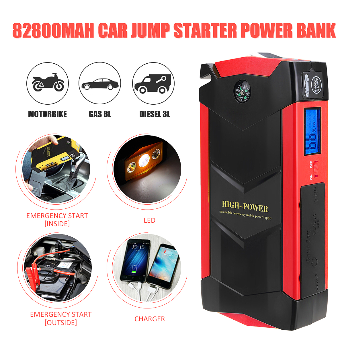 High Power 12V 82800mAh 4USB Car font b Battery b font Charger Starting Car Jump Starter