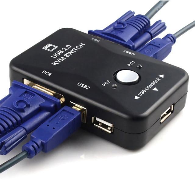 2-In-1-Out 2 Port USB 2.0 KVM Schalter Switcher 1920*1440 VGA SVGA Switch Splitter box für Tastatur Maus Monitor Adapter