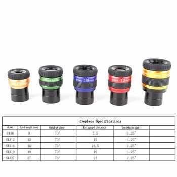 "1.25\"" 70 Degree HD Ultra Wide Angle Power FMC Eyepieces Binoculars Monocular Spotting Scope Professional Astronomical Telescope"