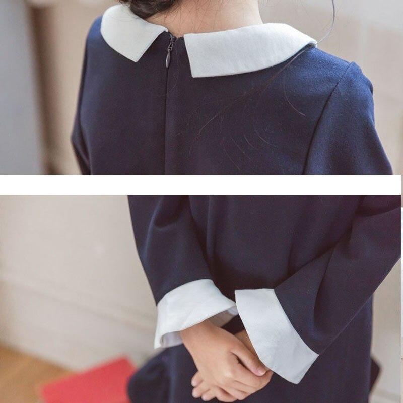Хлопковое платье с оборками для девочек-подростков, детские платья с длинными рукавами на осень, зиму и весну для маленьких девочек, одежда ...