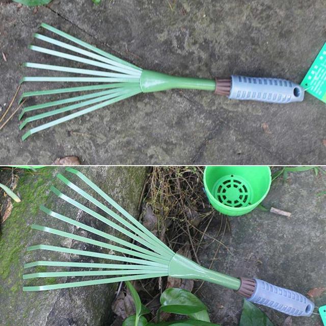 1 Pcs Nine Teeth Grass Rake Sapless Leaf Garden Tools 2