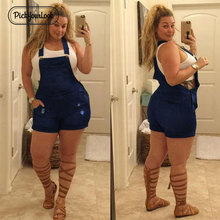 Pickyourlook Plus Size Women Jumpsuit Overalls Summer Denim Blue Pocket Female Rompers Playsuit Fashion Belted Ladies Overalls