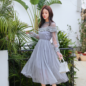 Image 4 - New 2019 Spring Autumn Women dress Flare Sleeve Patchwork Mesh Turtleneck Half A High end French Lace Dresses Blue Apricot 9086