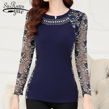 New 2018 Fashion High Quality Women's plus size lace blouse shirts ladies long sleeve slim Lace patchwork women Tops 160F 20