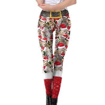 Sombrero de Navidad gato imprimir polainas para las mujeres pantalones  largos de lápiz  8918624c4e9b
