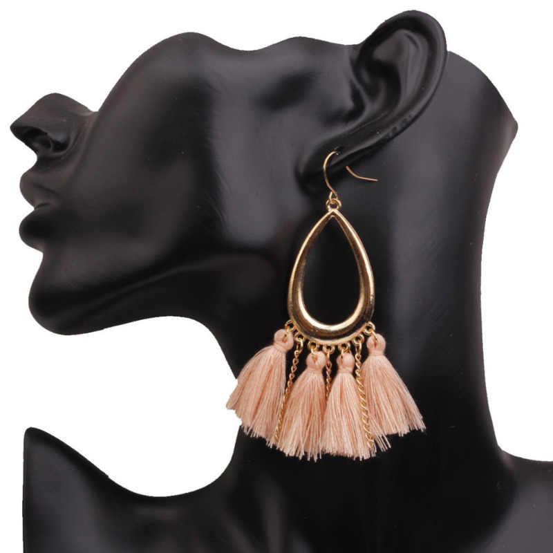 Nowy 2019 Bohemia kobiety kropla wody kształt kolczyki ze stopu Tassel wisiorek kolczyki kobieta Vintage kolczyki w stylu etnicznym biżuteria