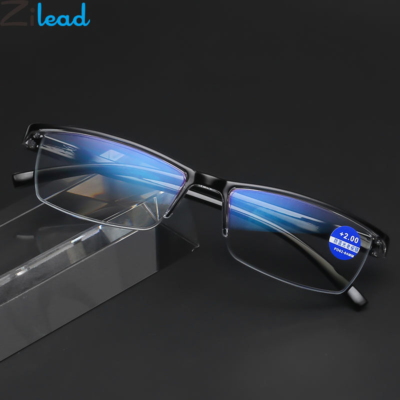 06314bc61 Zilead Anti Azul Metade Quadro de Leitura Óculos Lupa Eyewear For Women &  Men Óculos Para Presbiopia Hipermetropia Óculos Dos Homens de Negócios