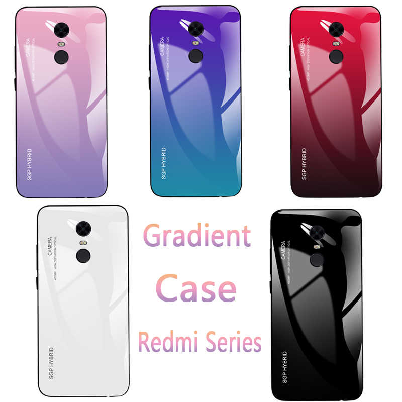 Gradient Case on Redmi Note 4X Glass Phone Case For Xiaomi Redmi 4 Note 5 6 Pro 5A 6A S2 5 Plus Tempered Glass Shell Cover Film