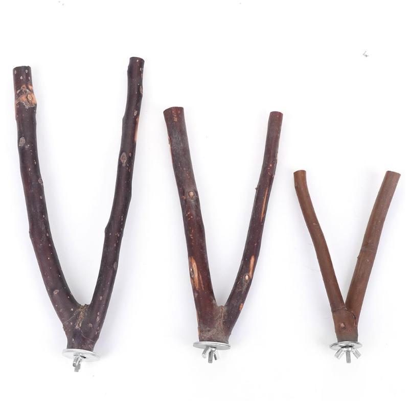 1PC 15cm 20cm 25cm Natural wood stand font b Pet b font Parrot Raw Wood Fork
