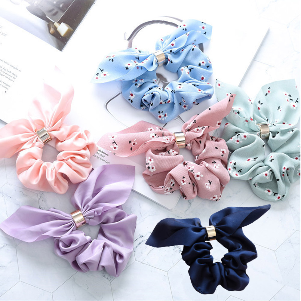 Cute Rabbit Bunny Ears Floral Elastic Hair Bands Scrunchies For Girls Casual Hair Rope Ties Holder Hair Accessories For Gifts