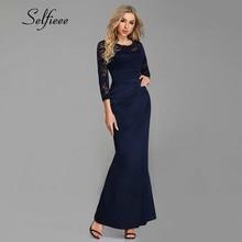 Navy Blue Woman Dress Elegant Evening New Design Mermaid O Neck Three Quarter Sleeve Lace Party Dress Long Spring Lace Dresses