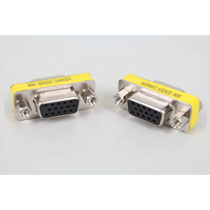 2pcs 15pin DB15 VGA Female to Female Adapter Gender Changer Couplers Extenders