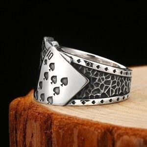 Image 3 - Zabra poker anel sólido 925 prata rock punk anéis para homens feminino preto signet jóias tamanho ajustável 7 a 10 pode cutomize tamanho