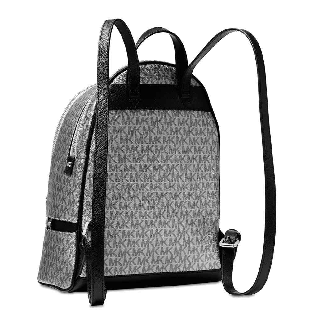 ... Michael Kors Metallic Signature Rhea Zip Backpack (Silver/Black) Luxury  Backpack For Women ...
