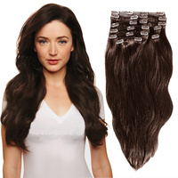 YONNA Remy Hair Clip in Human hair Extensions Double Weft Long Soft Straight 10 Pieces Thick to Ends Full Head