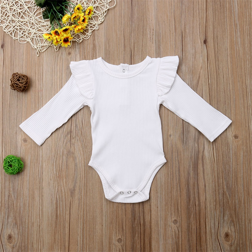 2020 Brand New Newborn Infant Kids Baby Girls Boys Autumn Causal Bodysuits Ruffles Long Sleeve Solid Warm Jumpsuits Outfit 0-24M 4