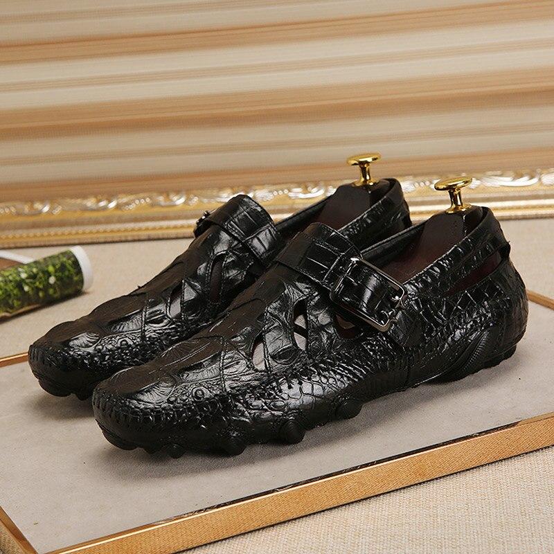 Moda hebilla Animal imprime cuero de grano completo Oxfords hombres Casual moda pulpo suela zapatos de conducción verano-in Mocasines from zapatos    3