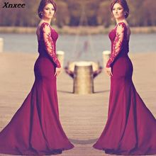 Xnxee Sexy Solid Red Lace Long Sleeve Dress Women Winter Dresses 2019 New Vestidos Fashion Party Vestiod