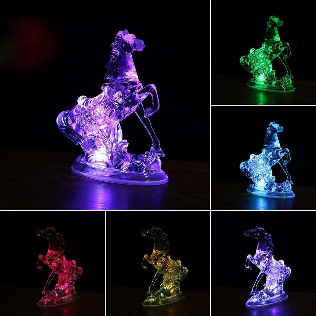 2019 New 7 Color Changing Animal Acrylic Horse LED Night Light Lamp Xmas Bedroom Decor